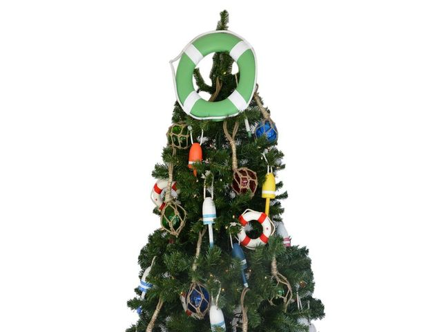 Green Lifering with White Bands Christmas Tree Topper Decoration