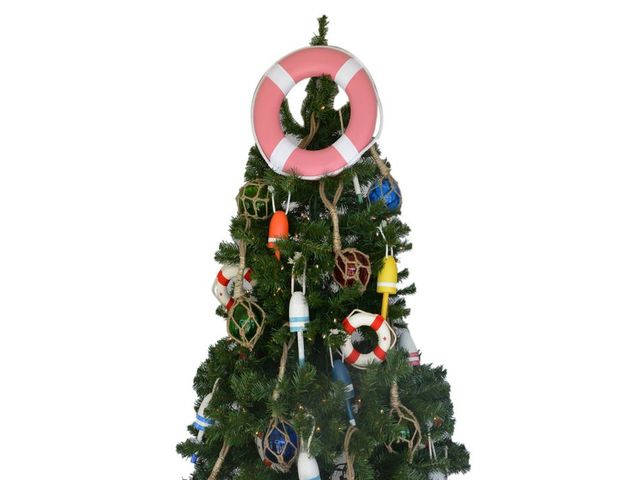 Pink Lifering with White Bands Christmas Tree Topper Decoration