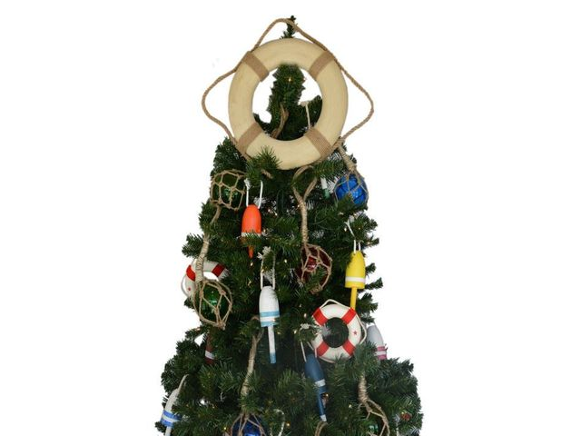 Vintage White Lifering with Rope Christmas Tree Topper Decoration