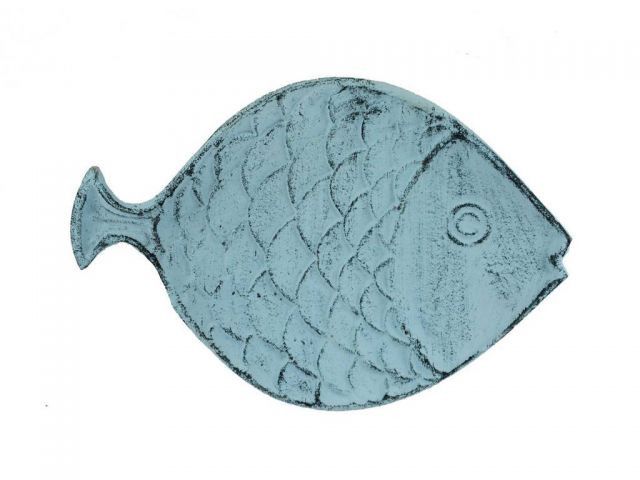 Dark Blue Whitewashed Cast Iron Fish Decorative Plate 8