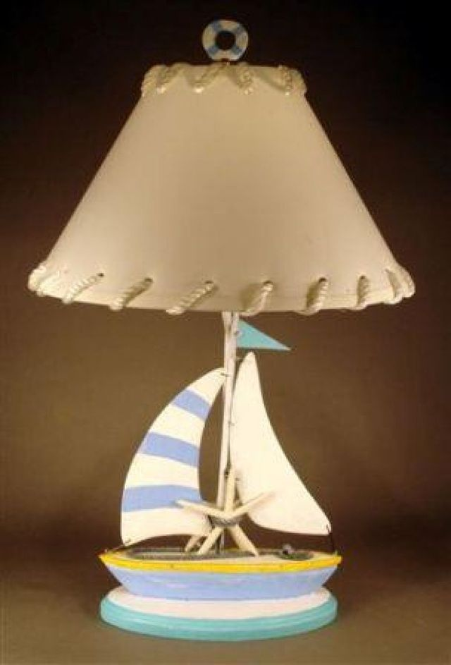 Beach Colored Sailboat Electric Lamp 29