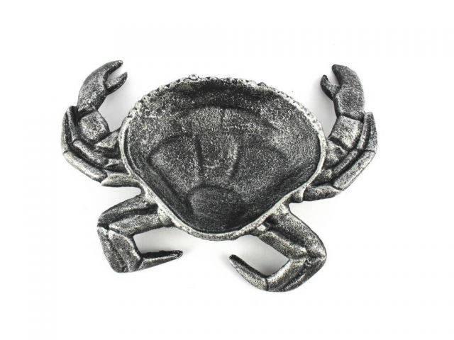 Antique Silver Cast Iron Crab Decorative Bowl 7