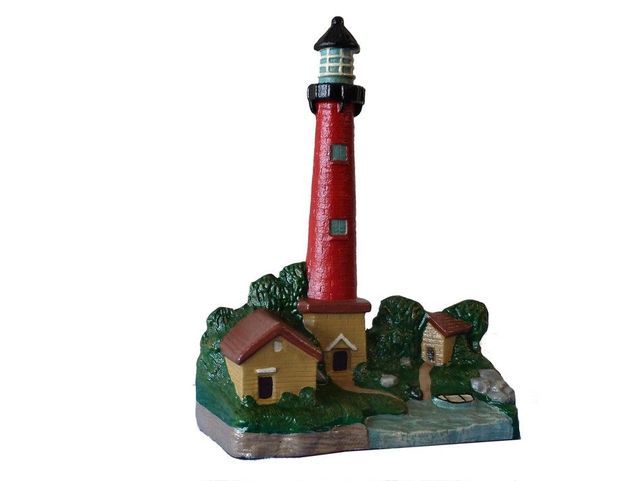 Cast Iron Red Lighthouse Door Stop 12