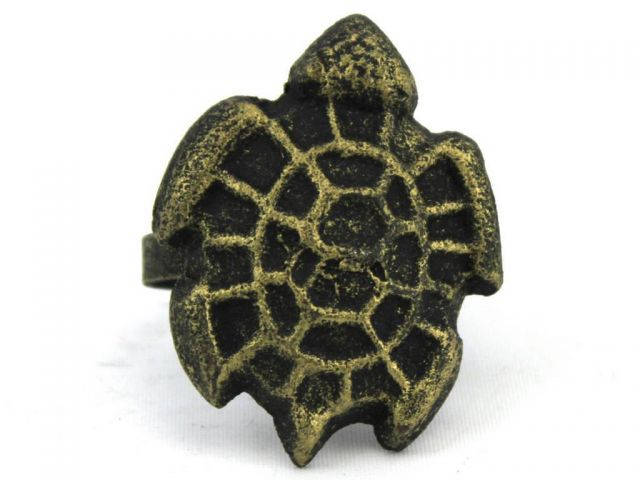 Antique Gold Cast Iron Turtle Decorative Napkin Ring 2 - set of 2
