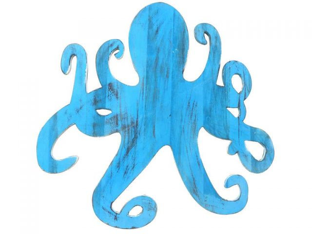 Wooden Rustic Light Blue Octopus Wall Mounted Decoration 25