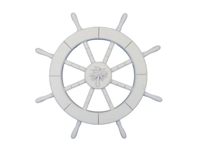 White Decorative Ship Wheel with Palm Tree 18