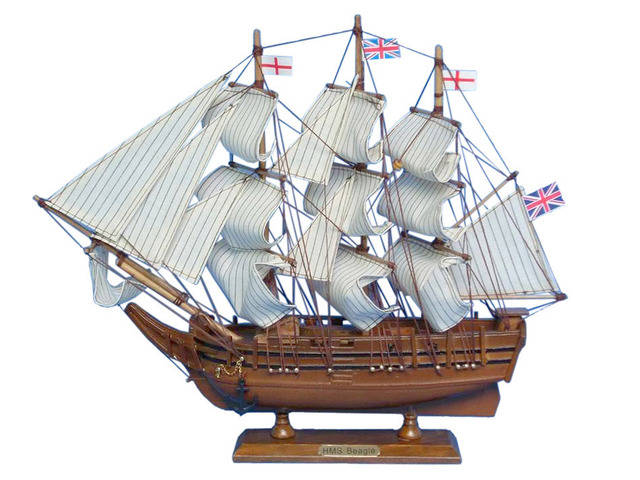 Wooden Charles Darwinandapos;s HMS Beagle Model Ship 14