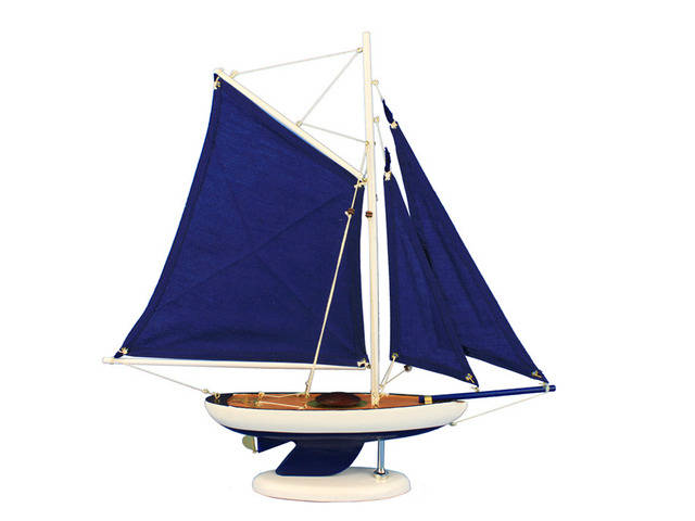 Wooden Bermuda Sloop Dark Blue Model Sailboat Decoration 17