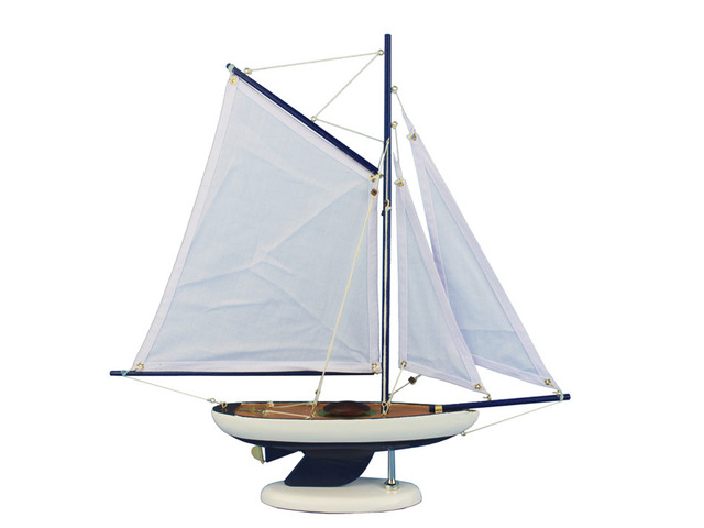 Wooden Bermuda Sloop Dark Blue - White Sails Model Sailboat Decoration 17