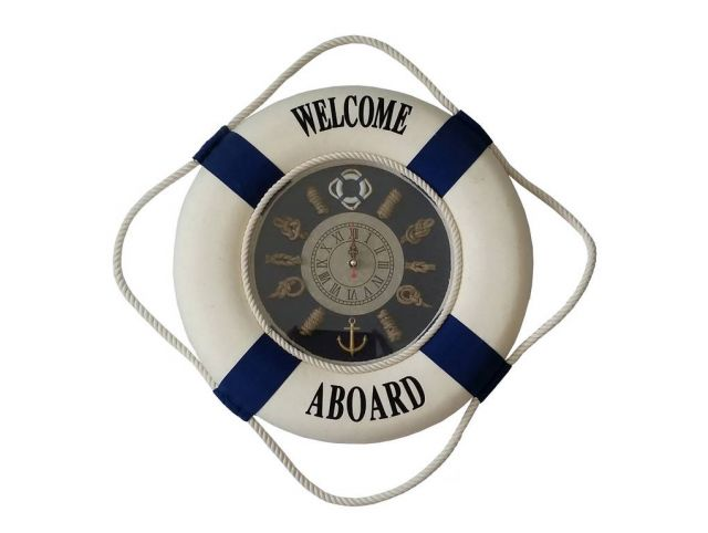 Blue Welcome Aboard Lifering with Blue Bands Clock 15