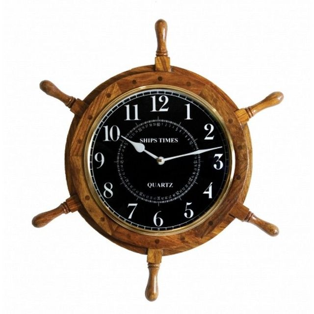 Wooden Black-Faced Ship Wheel Clock 18