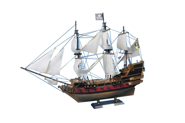 Captain Kidds Black Falcon Limited Model Pirate Ship 24 - White Sails