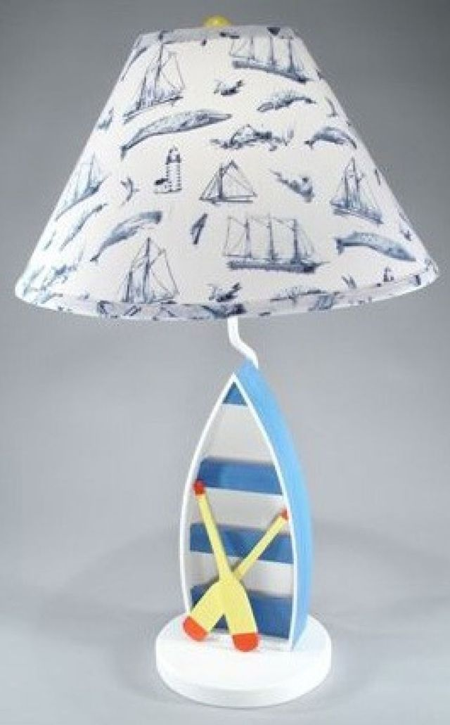 Blue Rowboat Electric Lamp w-Whale Shade 28