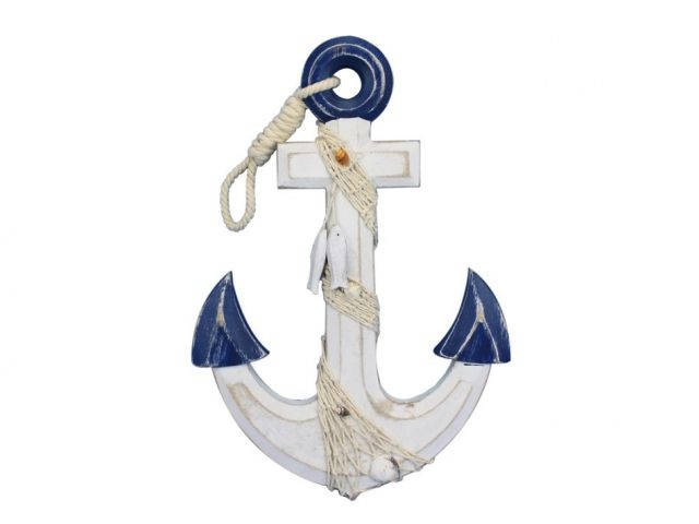 Wooden Rustic Blue-White Anchor w- Hook Rope and Shells 13