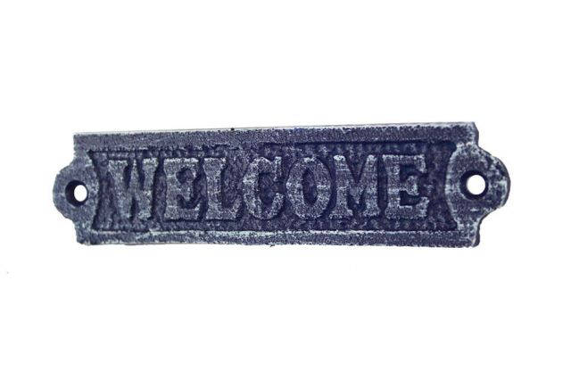 Rustic Dark Blue Whitewashed Cast Iron Welcome Sign 6