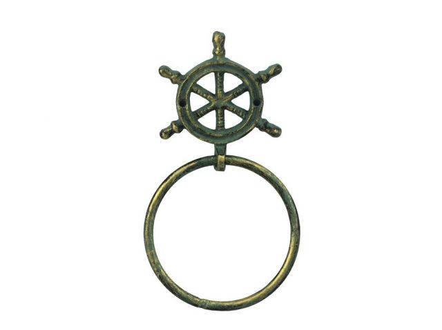 Antique Bronze Cast Iron Ship Wheel Towel Holder 8.5