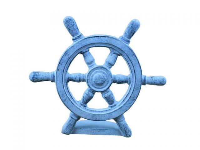 Dark Blue Whitewashed Cast Iron Ship Wheel Door Stopper 9