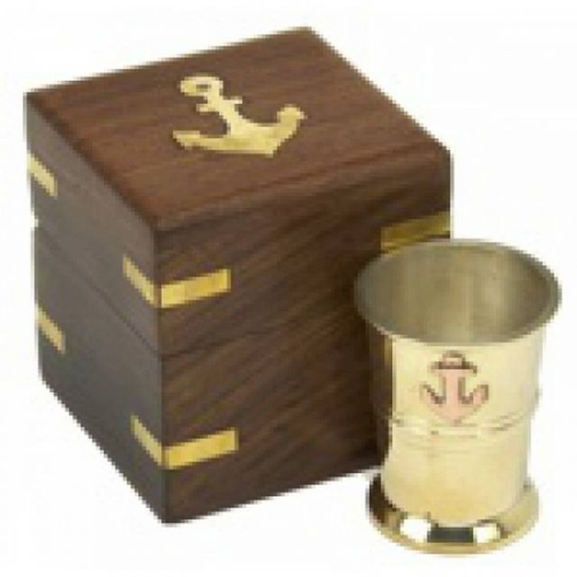 Brass and Copper Anchor Shot Glass w- Rosewood Box 3
