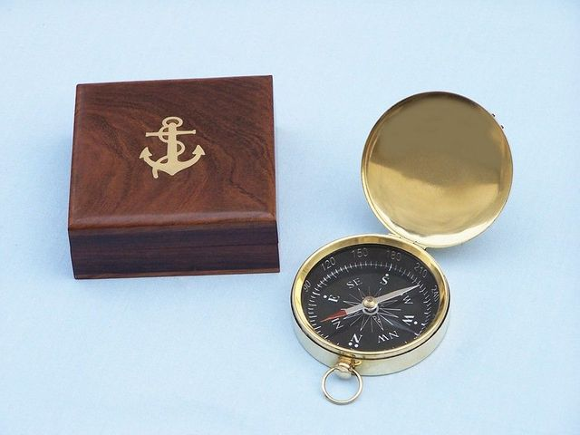 Solid Brass Vespucci Pocket Compass w- Rosewood Box 3