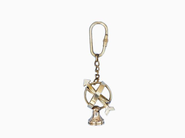 Solid Brass Armillary Key Chain 5