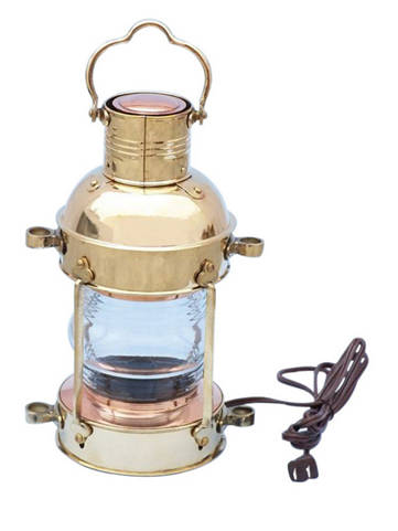 Solid Brass Anchor Electric Lantern 15
