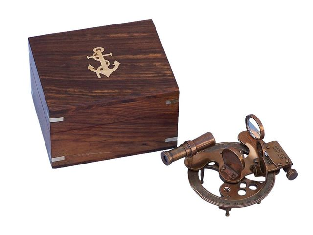 Antique Brass Round Sextant with Rosewood Box 4