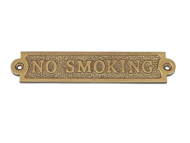 Antique Brass No Smoking Sign 6