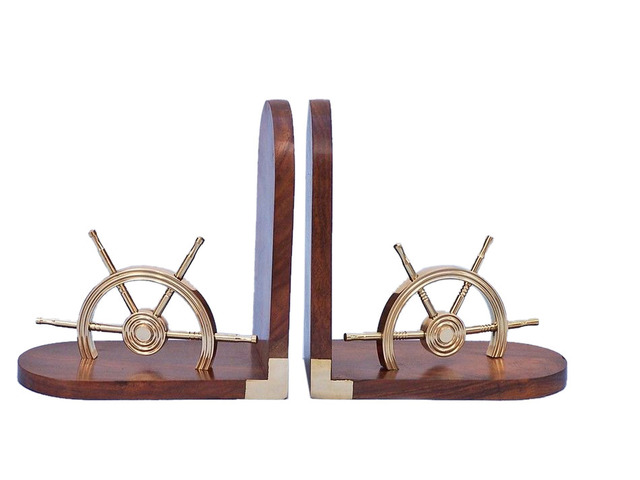 Brass Ship Wheel Book Ends