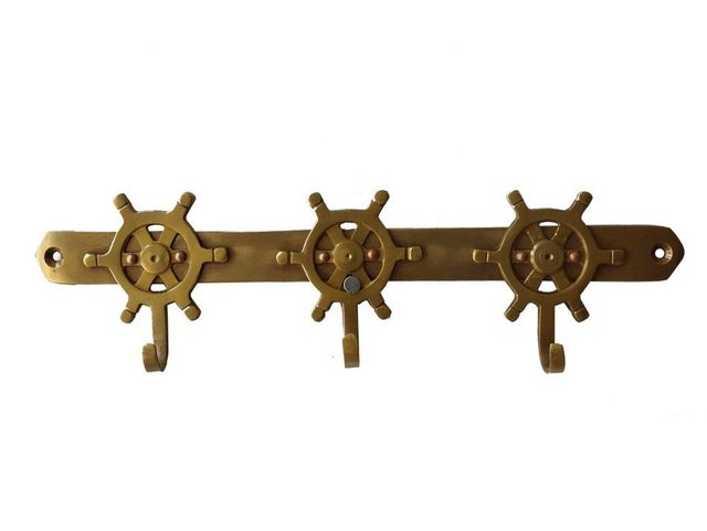 Solid Brass Ship Wheel Key Rack 10