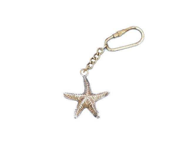 Solid Brass Starfish Key Chain 5