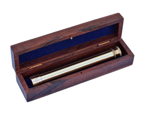Deluxe Class Solid Brass Viewfinder Spyglass with Rosewood Box 10