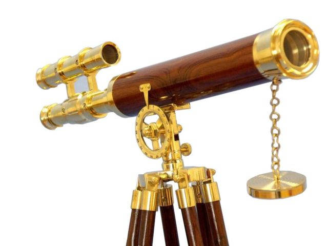 Floor Standing Brass-Wood Griffith Astro Telescope 50