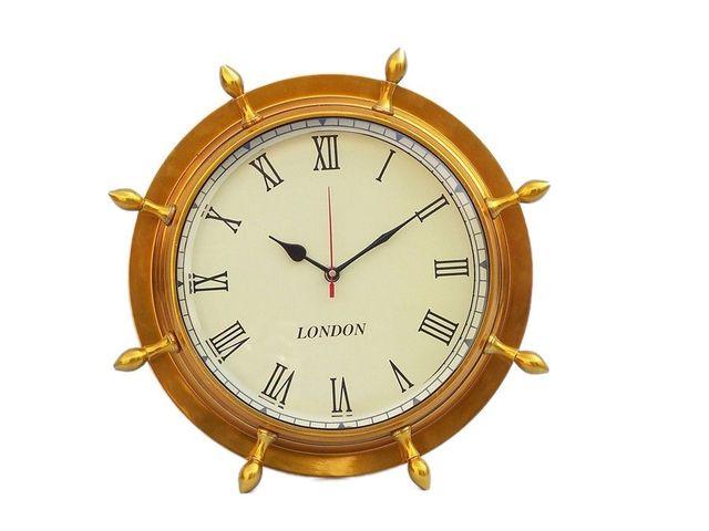 Buy Antique Brass Ship Wheel Clock 15in Model Ships