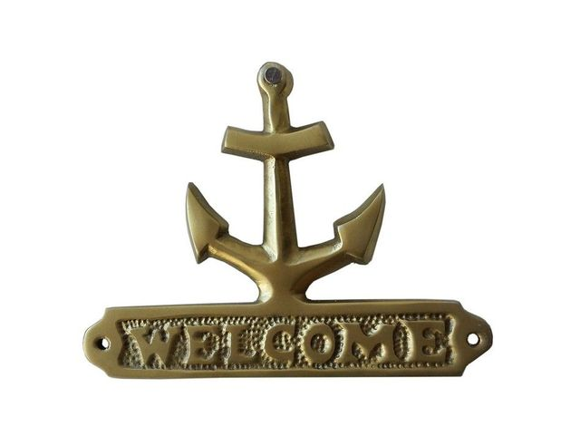 Solid Brass Anchor Welcome Sign 6