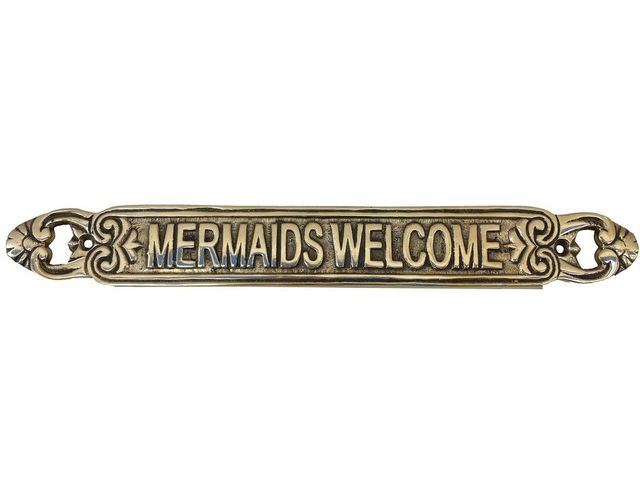 Solid Brass Mermaids Welcome Sign 12