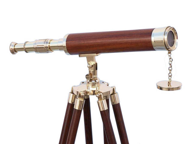 Floor Standing Brass-Wood Harbor Master Telescope 50
