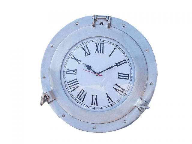 Buy brushed nickel deluxe class porthole clock 15 inch nautical - Large brushed nickel wall clock ...