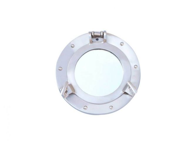 Brushed Nickel Deluxe Class Decorative Ship Porthole Mirror 8