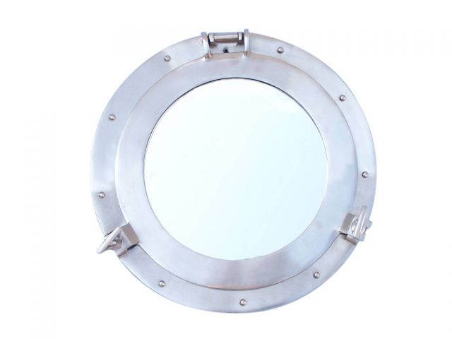 Brushed Nickel Deluxe Class Decorative Ship Porthole Mirror 12