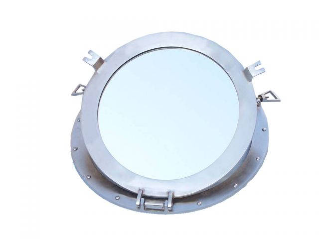 Brushed Nickel Deluxe Class Decorative Ship Porthole Mirror 15