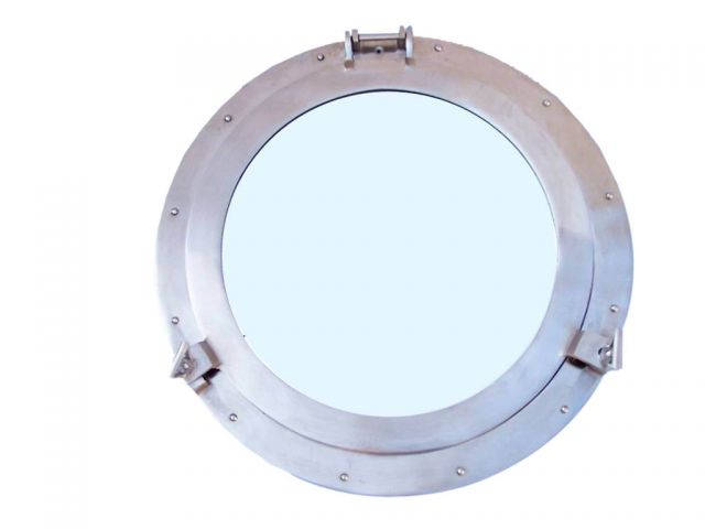 Brushed Nickel Deluxe Class Decorative Ship Porthole Mirror 20