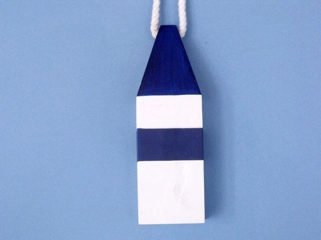 Wooden Dark Blue Maryland Crab Trap Buoy 8