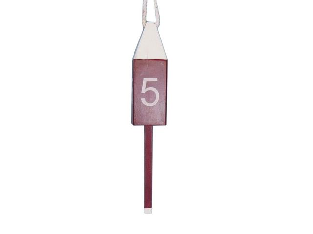 Wooden Dark Red Number 5 Decorative Squared Buoy 15