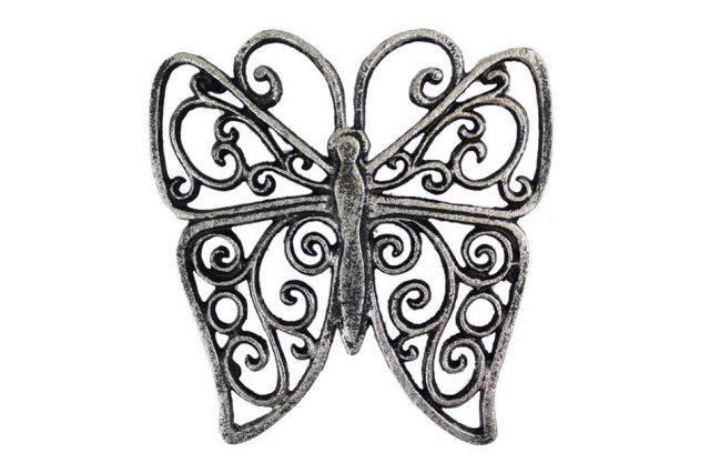 Rustic Silver Cast Iron Butterfly Trivet 8
