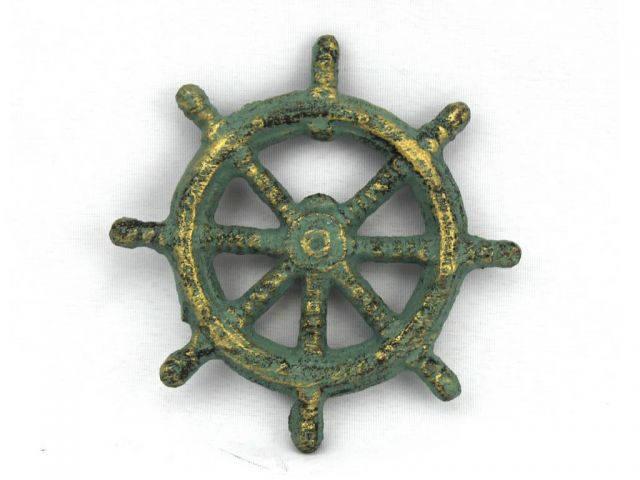 Antique Bronze Cast Iron Ship Wheel Bottle Opener 3.75
