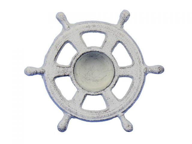 Whitewashed Cast Iron Ship Wheel Decorative Tealight Holder 5.5
