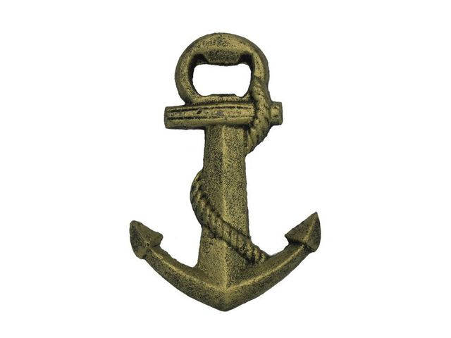 buy rustic gold cast iron anchor bottle opener 5 inch nautical theme. Black Bedroom Furniture Sets. Home Design Ideas