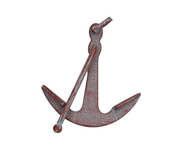 Rustic Red Whitewashed Deluxe Cast Iron Anchor Paperweight 5