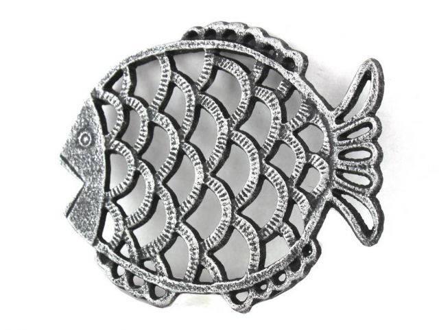 Antique Silver Cast Iron Big Fish Trivet 8