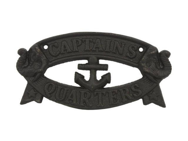 Rustic Black Cast Iron Captains Quarters Sign 8